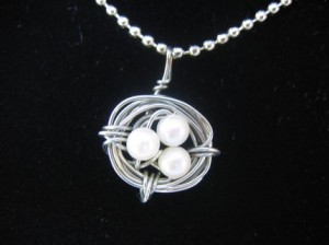 Birds Nest Necklace with Non Tarnishing Wire & White Pearls