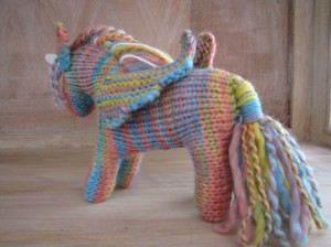 Crocheted Rainbow Unicorn w Wings