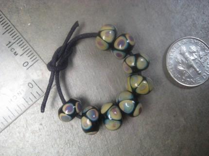 raku dot hankcrafted lampwork glass beads