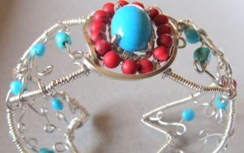 Sterling Silver Turquoise and Red Coral Southwestern Cuff