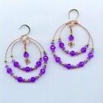Amethyst Double Hoop Beaded Earrings by ChicsBoutique
