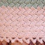 Crocheted Pink Green and White Baby Blanket by HandmadebyArtie