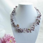 Purple Crocheted Necklace with Czech Glass Beads by bbscharmingcreations
