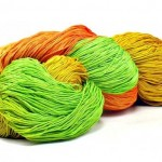 150 Yards Hand Dyed 3 Ply Size 10 Crochet Thread in Orange Yellow Spring Green Chartreuse and Melon Hand Painted Cotton Fine Yarn by Nothingbutstring