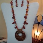 Exotic Wood Pendant with Faux Resin and Jasper Necklace by mysuzis