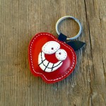 Handmade Leather Keychain Red Apple FREE shipping by triballi