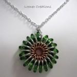 Sunburst Pendant green glass by LoonerCreations