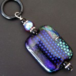 RHAPSODY BLUE FUSED DICHROIC GLASS CABACHON PENDANT