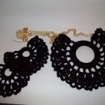 Vintage Doily Necklace & Earring Set in black