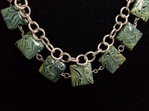 Forest Kaleidoscope Handmade Sterling Silver & Green Swirled Glass Necklace