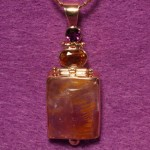 Handfabricated 14k Pendant with Cocoxinite Amethyst & Citrine