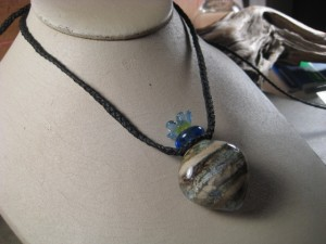 Blue River Rock Hollow Amphora Vessel Pendant Necklace
