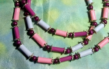 paper bean necklace pink and blue