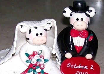 Handmade cake topper cow