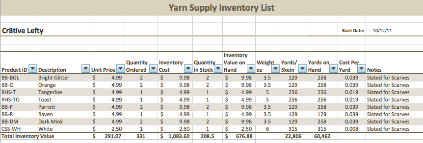 Handmade Inventory Tracking Part 1 – Supply Inventory Template
