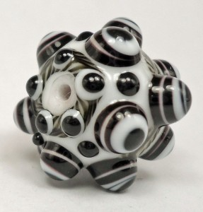 Black and White Lampwork Bead