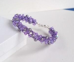 Violet Multi Strand Crystal Pearl Bracelet