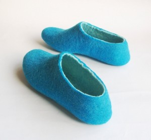 Teal Felted Slippers