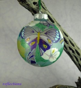 Butterfly Celebration Hand Painted Glass Ornament