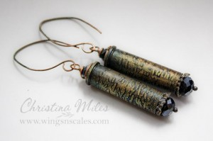 Etched bullet earrings