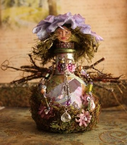 altered art bottle doll