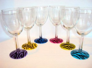hand painted wine glasses zebra