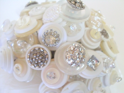 Crystal Button Bouquet Wedding