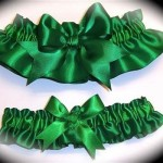 Emerald Green BB Satin Wedding Garter Set by GartersbyKristi