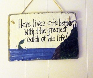 Fishing sign Fathers day gift by kpdreams