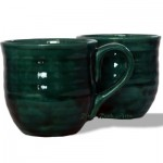 Large Dark Emerald Green Ceramic Mugs Set of 2 by RiverRockArts