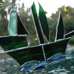 The Green Galleon and North Star Stained Glass by Reflections