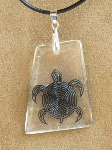 etched turtle quartz pendant