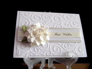 Embossed Wedding Card with Paper Flower Best Wishes Wedding Card