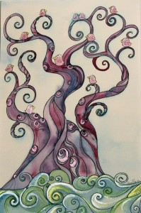Hand painted squiggly tree