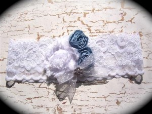 White and Light Blue Lace Bridal Garter