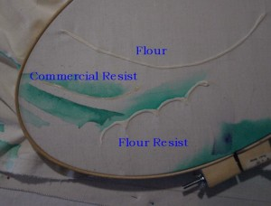 Commercial resist and flour paste resist applied with material in hoop