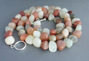 Mixed Moonstone Necklace Extra Long Sterling Silver by WoodstockNYC