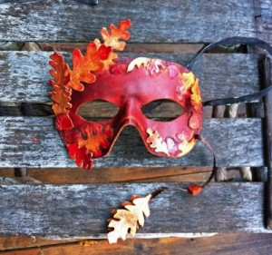 Oak Leaf Tooled Leather Masquerade Mask