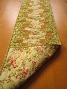 Quilted Table Runner Floral Zig Zag by PatchworkMountain