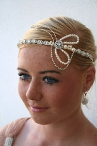 1920s Flapper Style Brow Tiara Headpiece with Rhinestones and Pearls Unique