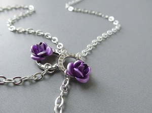 Silver Eyeglass Holder Necklace with Purple Roses by HalfSnow