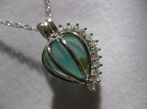 aqua sea glass pendant necklace