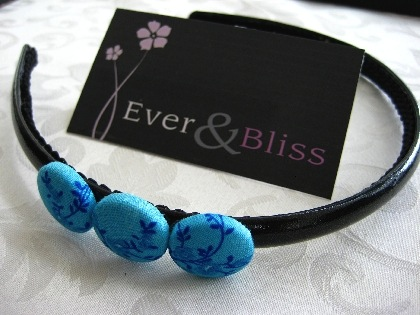 Blue Floral Pattern Button Headband by EverAndBliss
