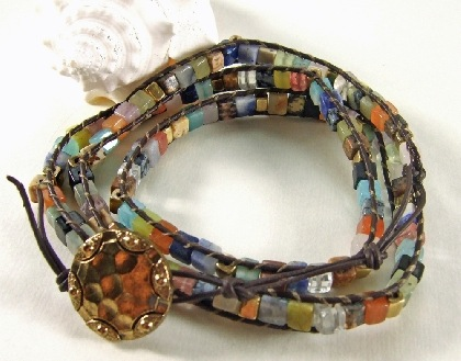 Brown Leather and Mixed Gemstone Wrap Bracelet by khroman