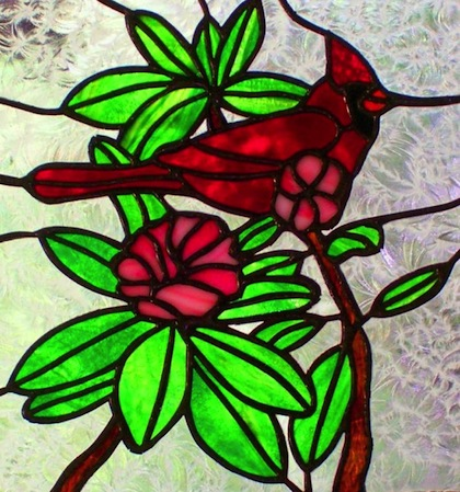 Cardinal and Rhododendron Stained Glass Panel by stainedglasswv