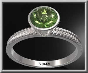 Unique Green Peridot Sterling Silver Leaf Engagement Ring by vidarjewelry