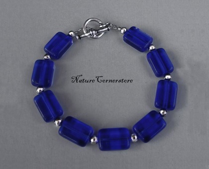 Cobalt Blue Czech Glass and Silver Bracelet by NatureCornerstore