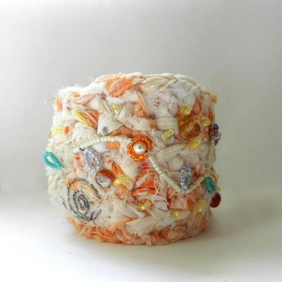 Fabric Crochet Cuff Tangerine Creamsicle Bracelet Cuff Bohemian Jewelry Upcycled Jewelry Cuff Bracelet by AlbinaRose