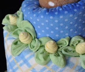 washcloth rose leaves tutorial