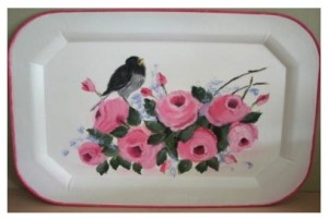 Hand Painted Vintage Metal Tray Birds Roses by BellaChicCottage